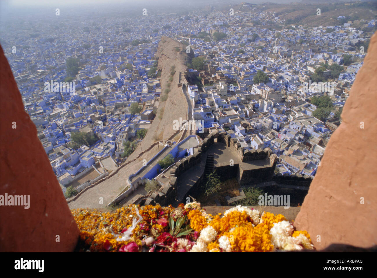 View from the fort to the blue quarter of Brahmin caste residents, Jodhpur, Rajasthan, India - Stock Image
