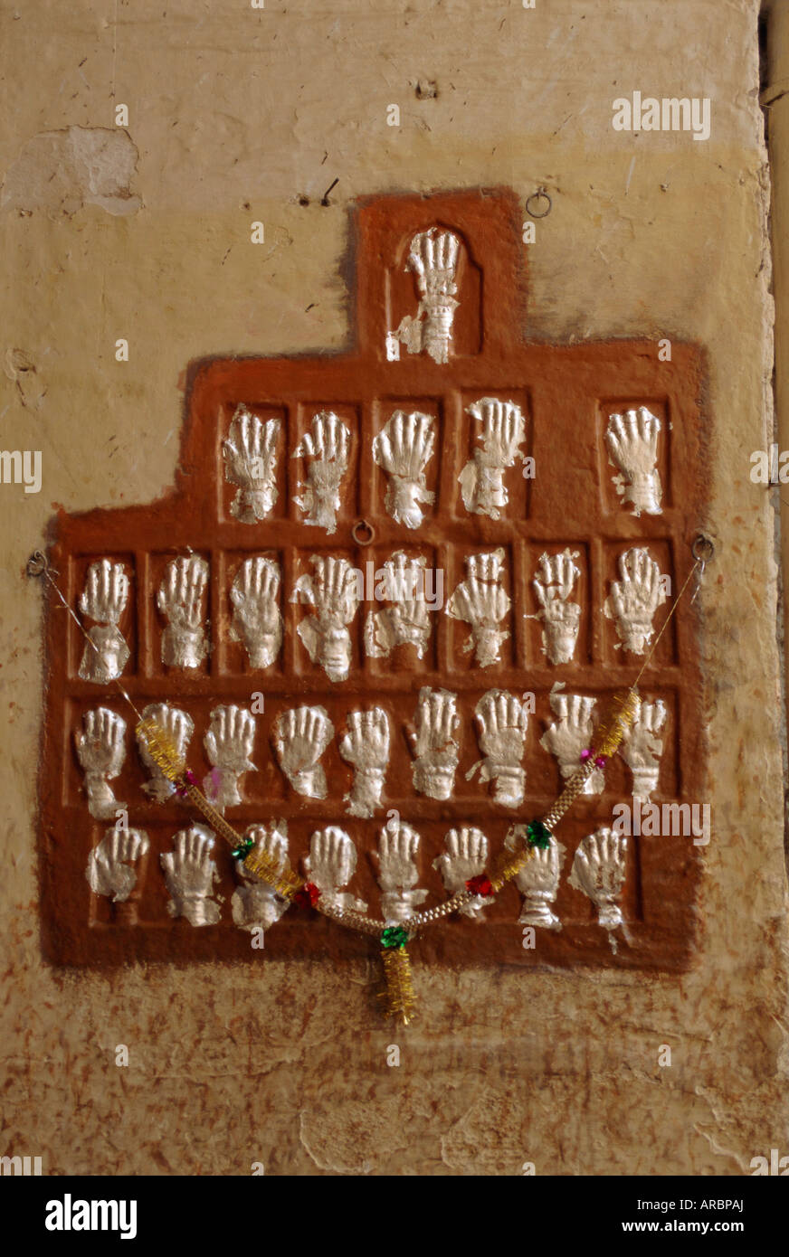 The handprints or Sati marks of ladies who died on the pyres, Jodhpur, Rajasthan, India - Stock Image