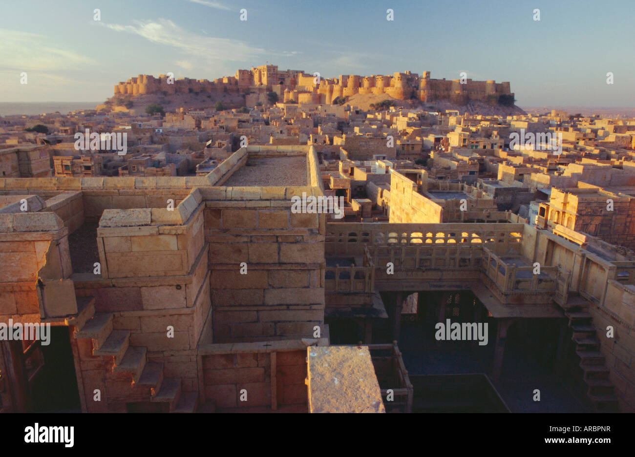 View of Jaisalmer Fort, which has 99 bastions around its circumference, Jaisalmer, Rajasthan, India - Stock Image