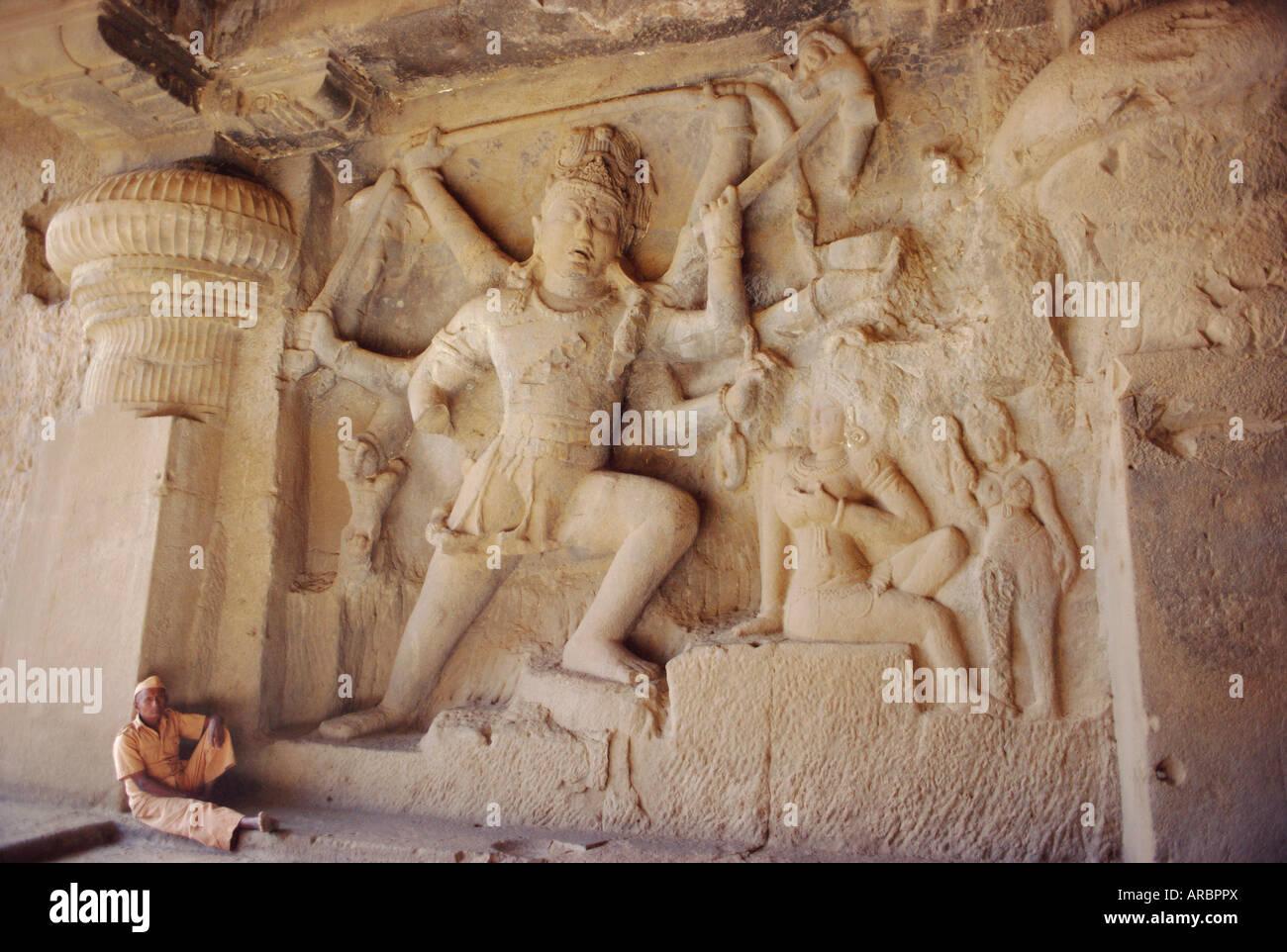 Rock cut panel showing the Hindu God Lord Shiva in Cave no 29, the Dhuma Lena Cave, at Ellora, Maharashtra State, - Stock Image