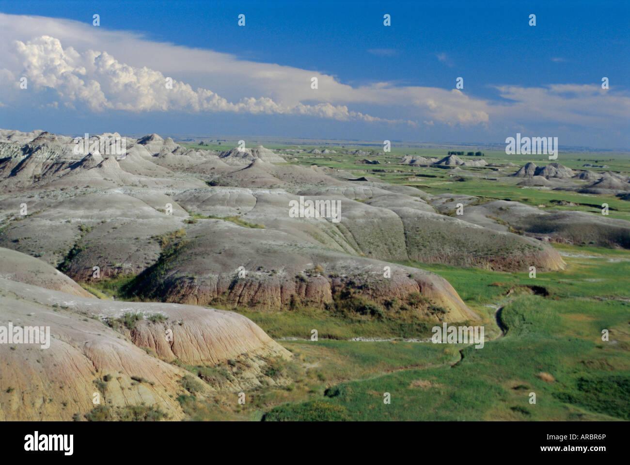 Gullies eroded into the Pierre shales, Badlands National Park, South Dakota, USA - Stock Image