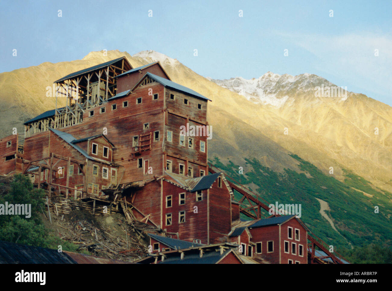 Old copper mine buildings, preserved national historic site, Kennecott, Wrangel Mountains, Alaska, USA, North America - Stock Image