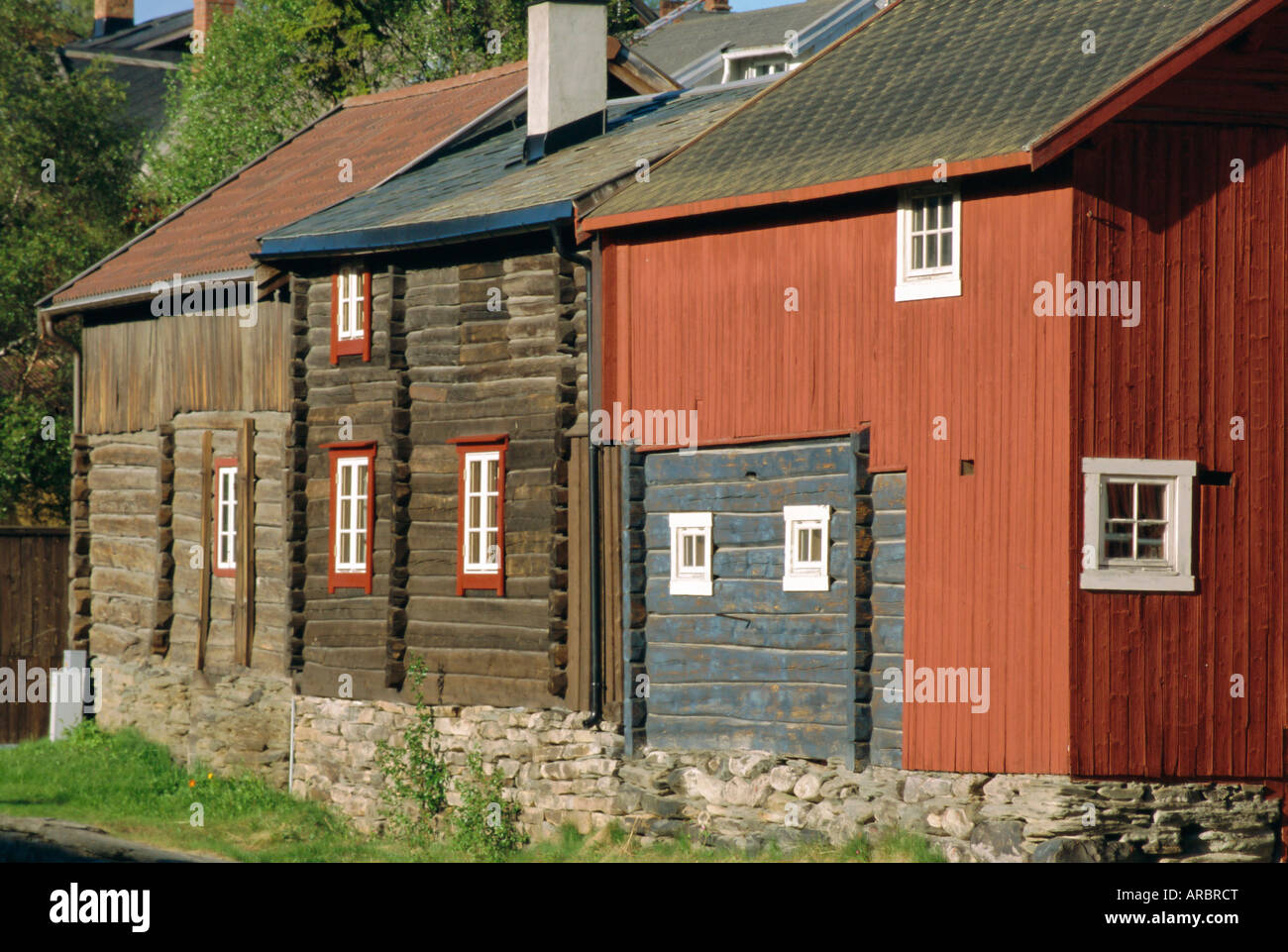 Preserved miners' houses, World Heritage site of Roros, Trondelag, Norway, Scandinavia, Europe - Stock Image