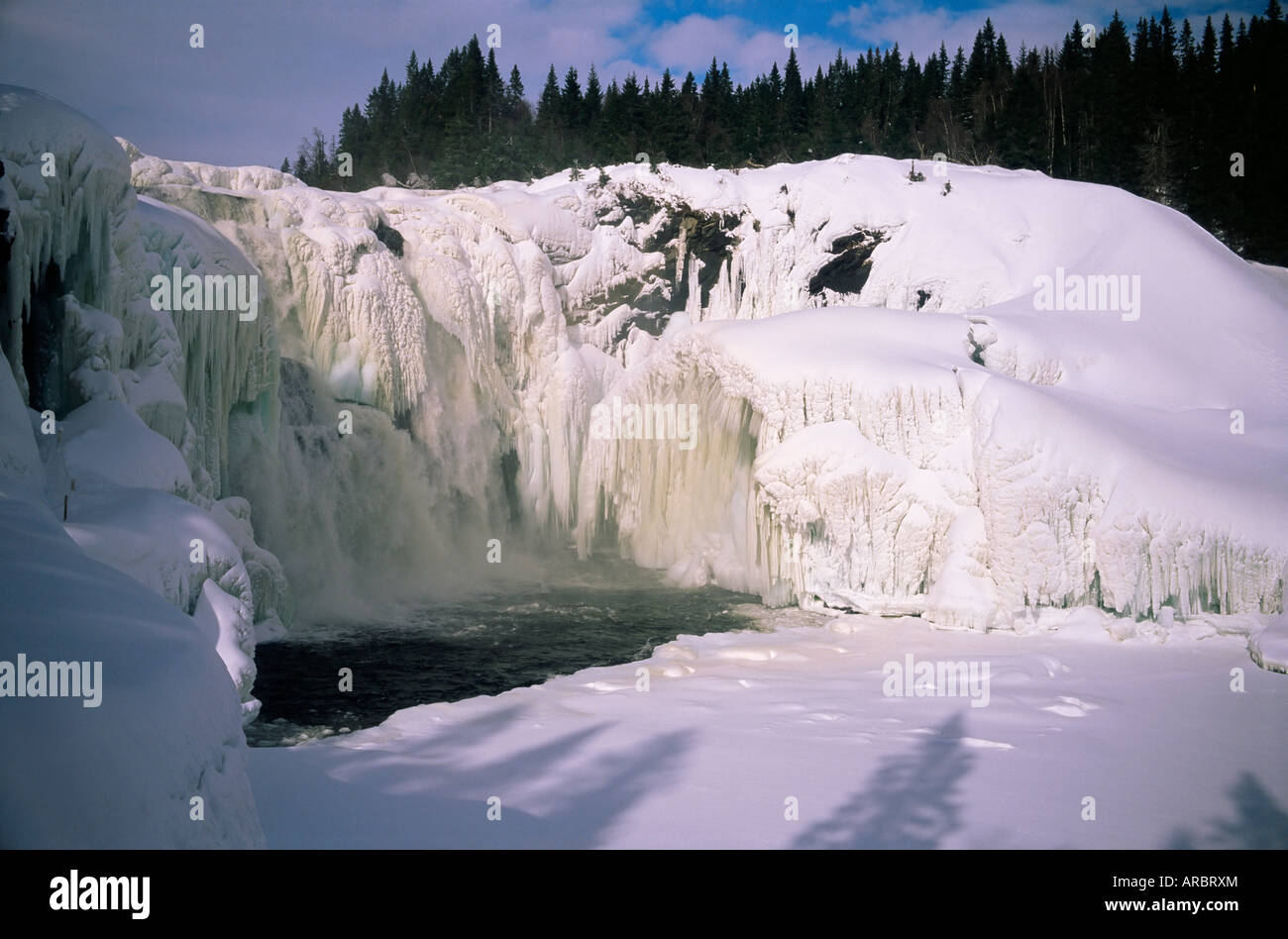 Tannfors, a 32m high, 60m wide frozen waterfall, near Are, Jamtland, Sweden, Scandinavia, Europe - Stock Image