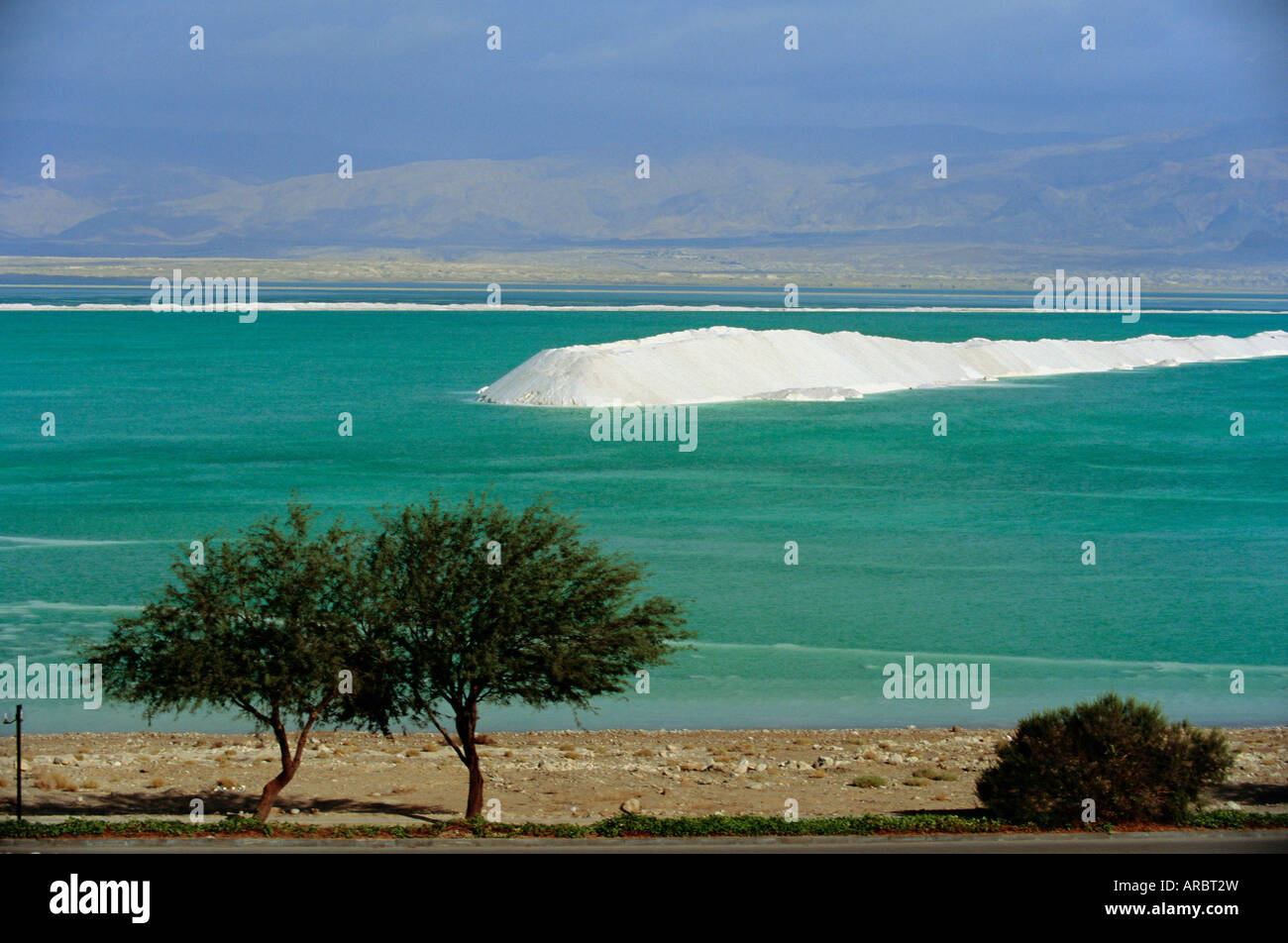 Mined sea salt at shallow south end of the Dead Sea near Ein Boqeq, Israel, Middle East - Stock Image