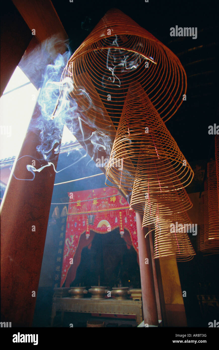 Huge incense spirals which burn for hours, Phung Son Tu Pagoda, Ho Chi Minh City (Saigon), Vietnam - Stock Image