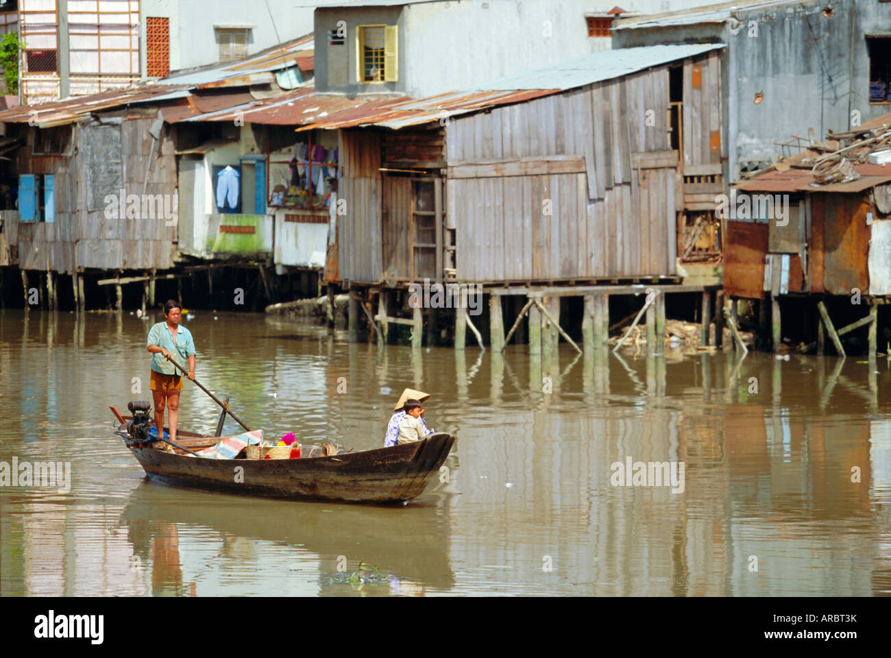 Boat on the Kinh Ben Nghe, a tributary of the Saigon River, Ho Chi Minh City, formerly Saigon, Vietnam, Asia - Stock Image