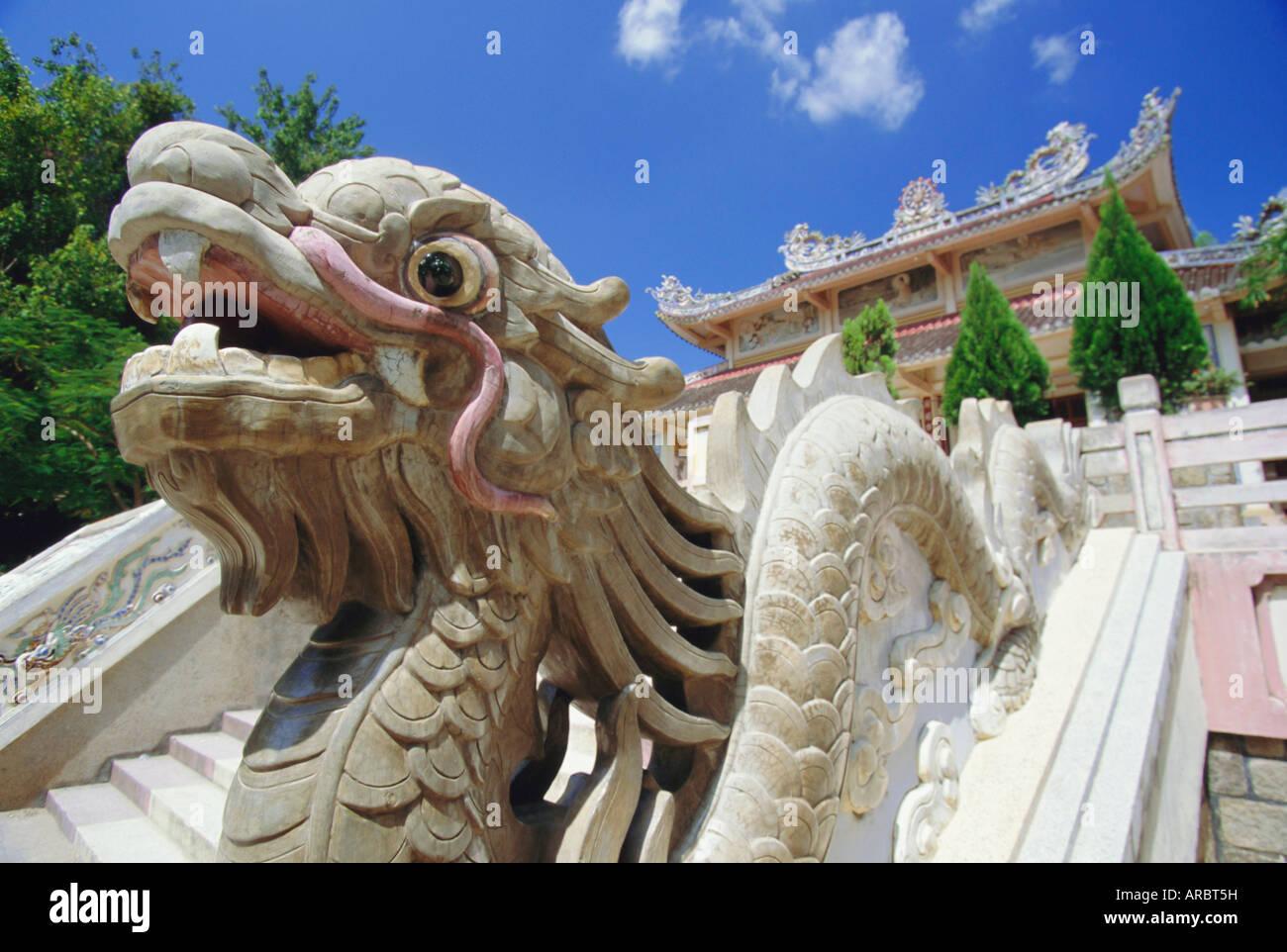 Dragon at the Long Son Pagoda, Nha Trang, Vietnam, Indochina, Asia Stock Photo