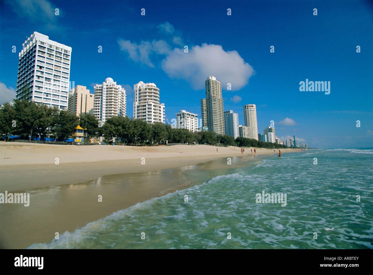 Surfers Paradise beach, Gold Coast, Queensland, Australia - Stock Image
