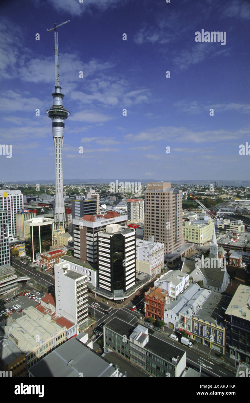 Albert Street and Wyndham Street with Sky City Tower on city skyline, Central Auckland, North Island, New Zealand - Stock Image