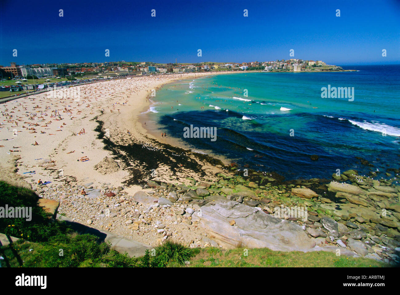 Bondi Beach, one of the city's southern ocean suburbs, Sydney, New South Wales, Australia - Stock Image