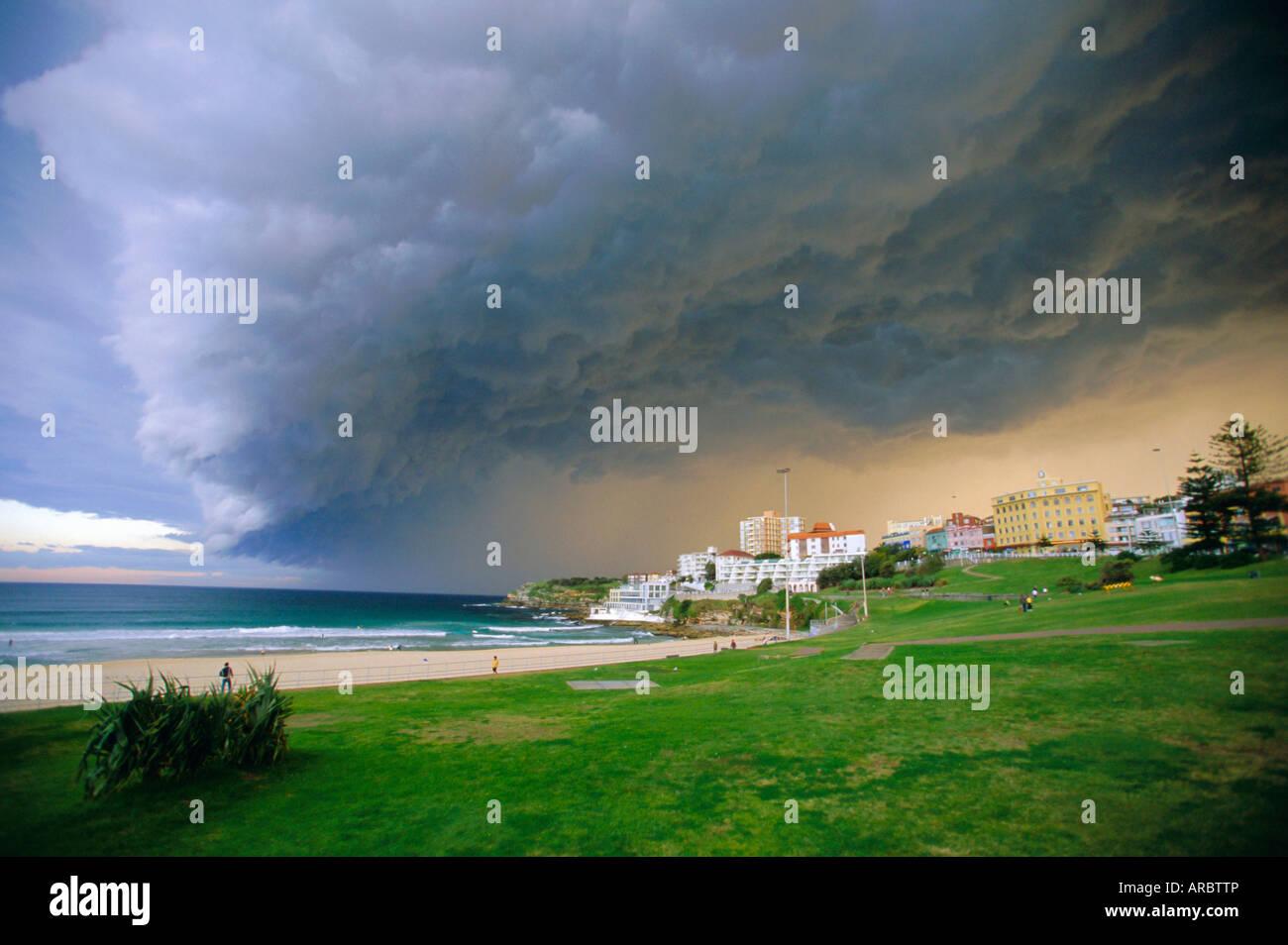 Thunderstorm advancing over Bondi Beach in the Eastern suburbs, Sydney, Australia - Stock Image