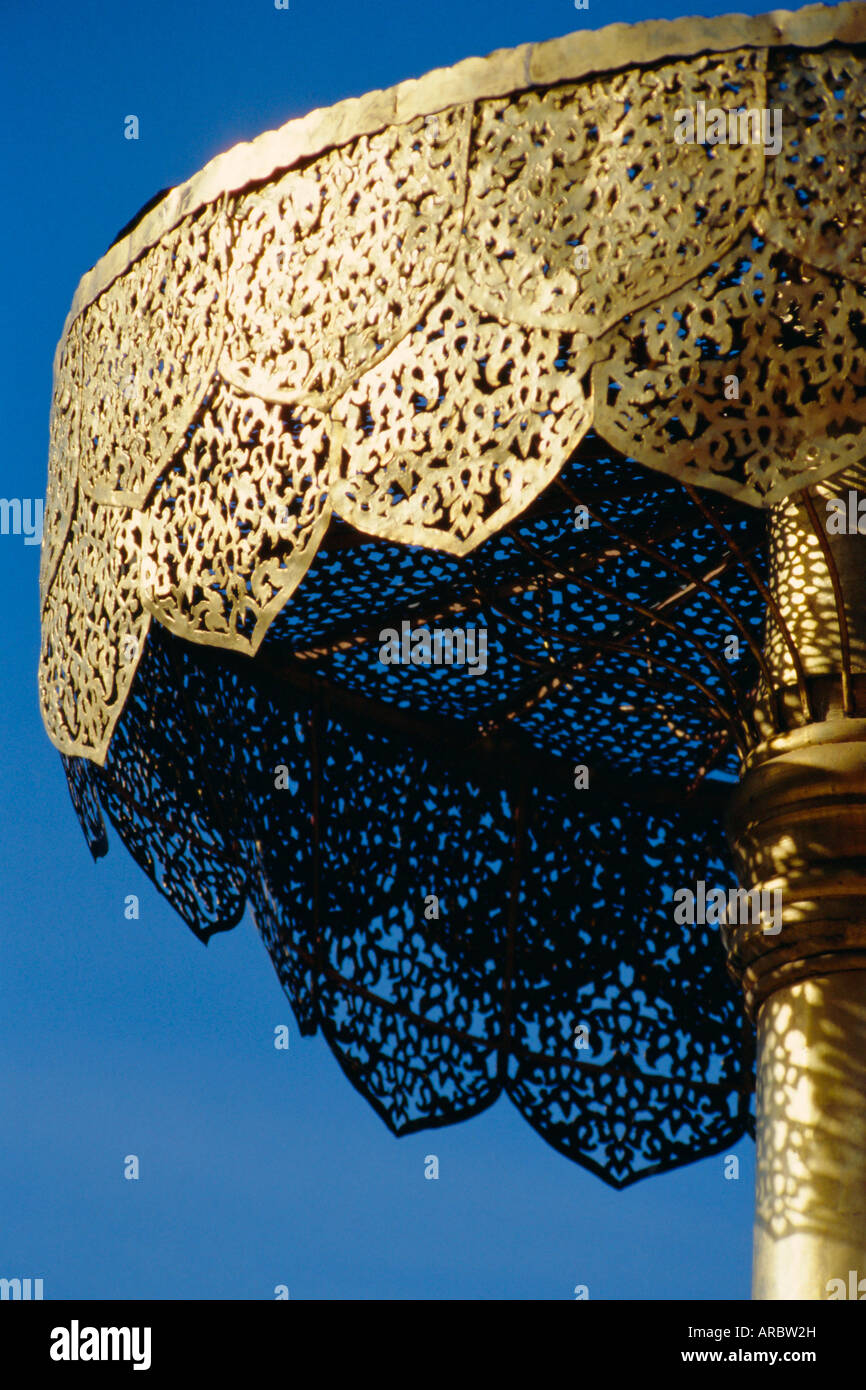 Close-up of a gilded metalwork umbrella, Doi Suthep Temple, Chiang Mai, Thailand - Stock Image