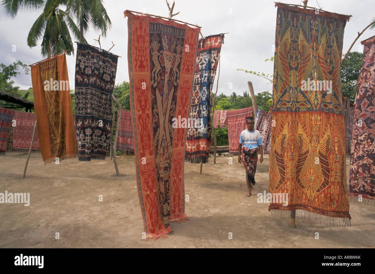 Ikat cloths for sale, Sumba (Soemba) , Lesser Sundas, Indonesia, Southeast Asia, Asia - Stock Image