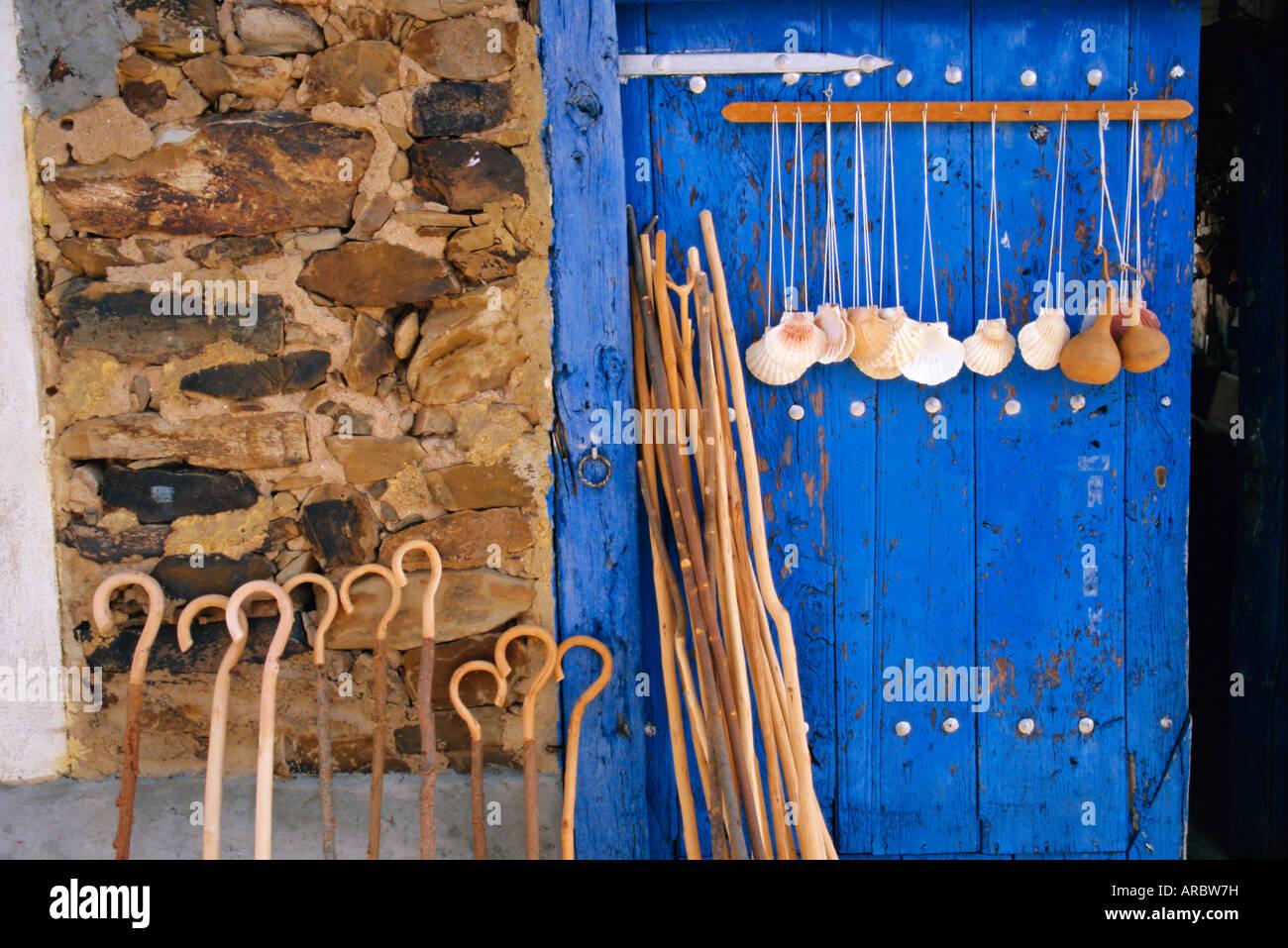 El Camino Pilgrimage to Santiago de Compostela, scallop shells and walking sticks, Galicia, Spain, Europe - Stock Image