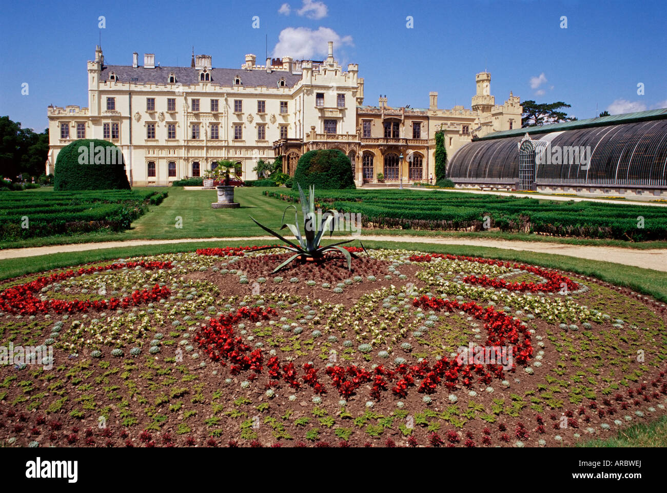 Gardens of chateau dating from 1856, Lednice, UNESCO World Heritage ...