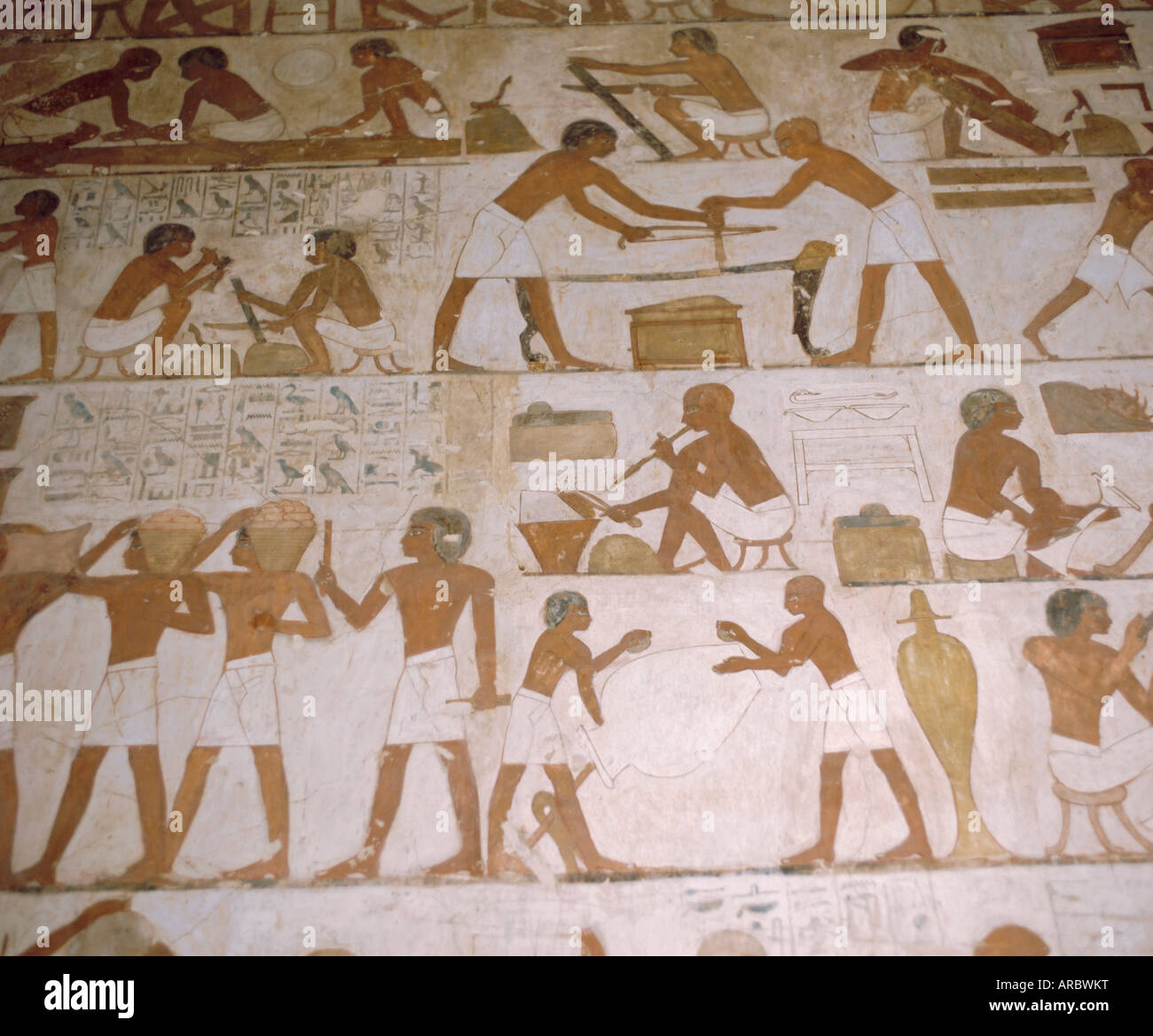 Depictions of everday life, Tomb of Renhuire, Thebes, Egypt - Stock Image