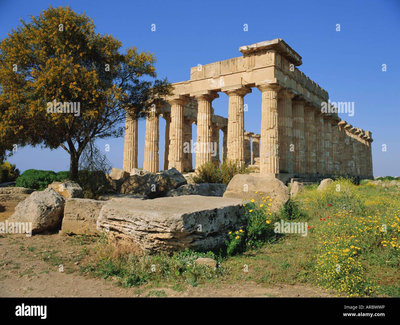 Temple E (5th century BC), Selununte, Sicily, Italy - Stock Image
