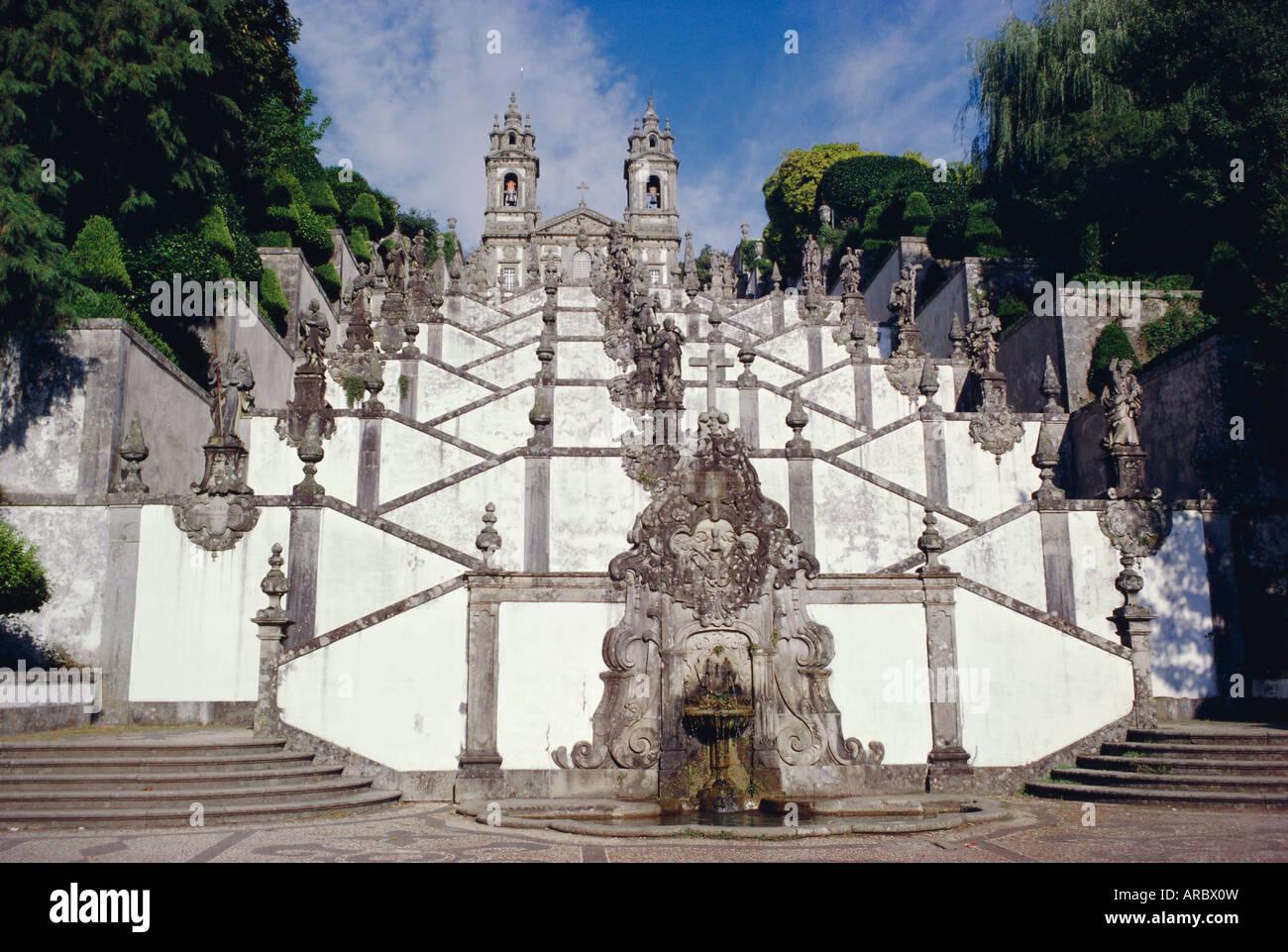 Santuary staircase 1723, from halfway point, Bom Jesus do Monte, Braga, Minho, Portugal, Europe - Stock Image