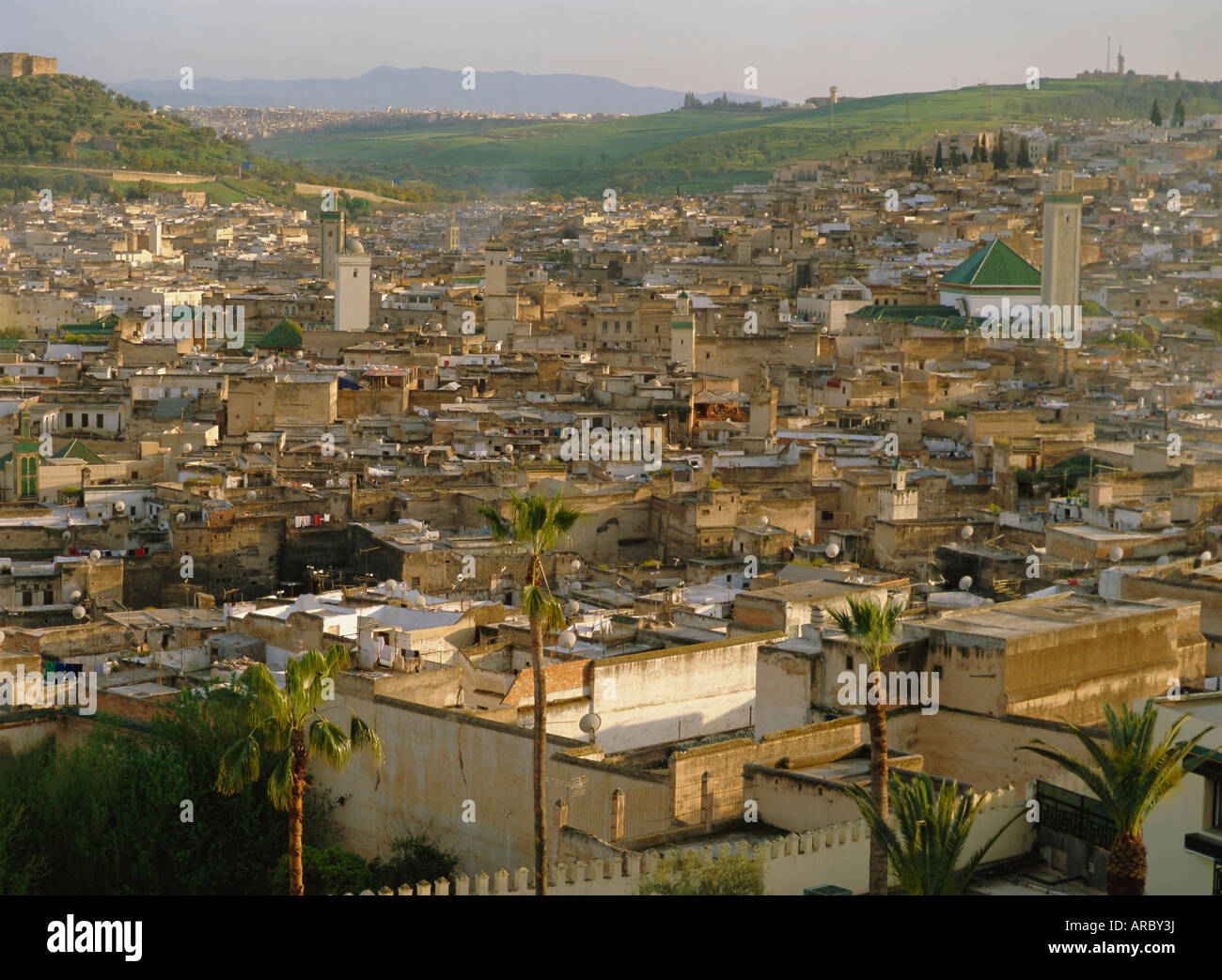 View from Hotel Palais Jamai over Fes el Bali, Fes (Fez), Morocco, North Africa, Africa - Stock Image