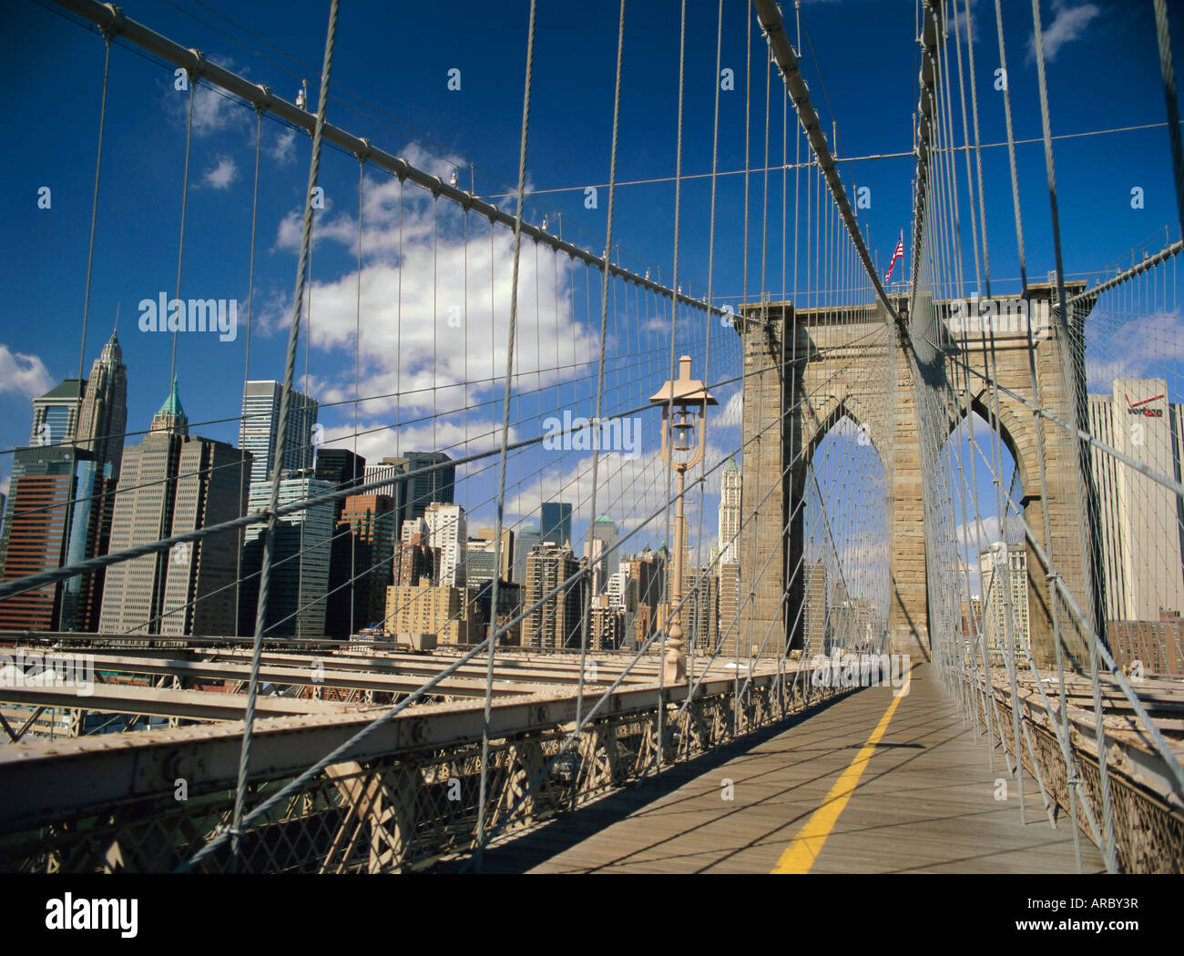The Manhattan skyline from the Brooklyn Bridge, post Sept 11, New York City, New York State, USA, North America - Stock Image