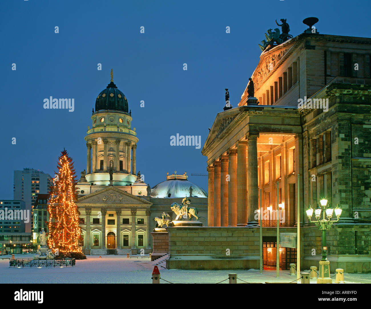Berlin The Gendarmenmarkt the most beautiful square in Berlin with a christmas tree the German Cathedral and the Stock Photo