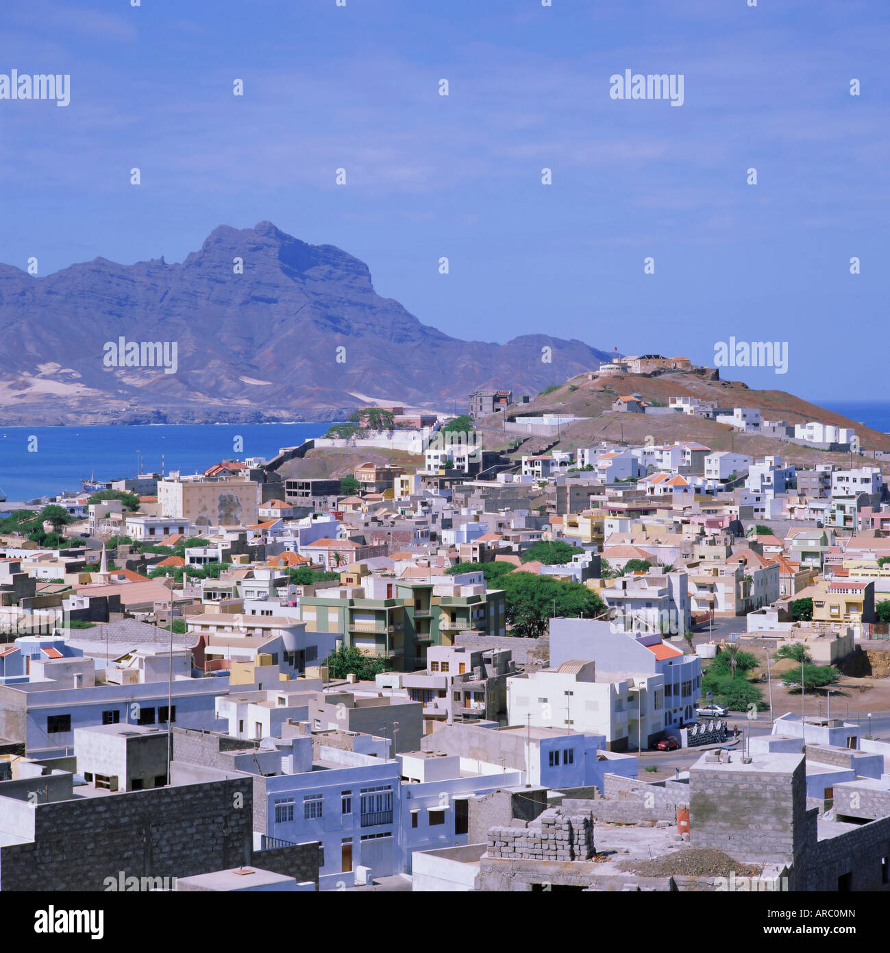 The main port of Mindelo on the island of Sao Vicente, Cape Verde Islands Stock Photo