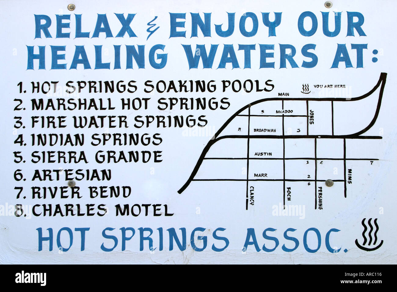 Hot Springs location map Truth or Consequences New Mexico USA Stock ...