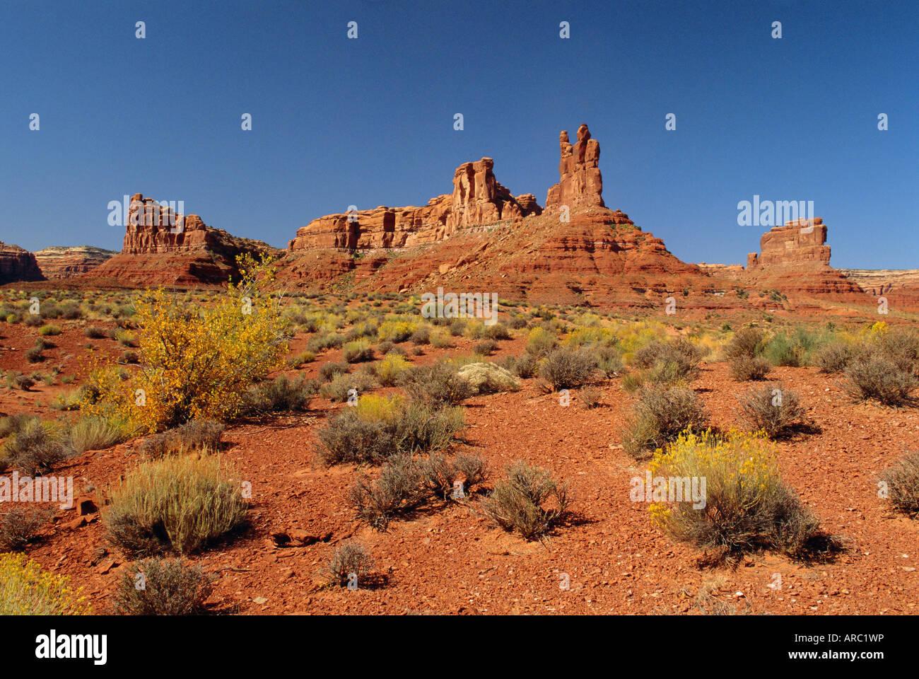 Sandstone monoliths, Valley of the Gods, Utah, USA - Stock Image