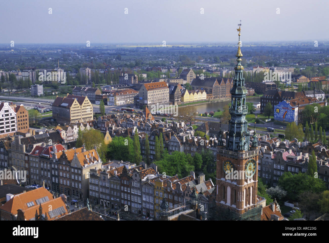City centre from high view point, Gdansk, Pomerania, Poland, Europe - Stock Image