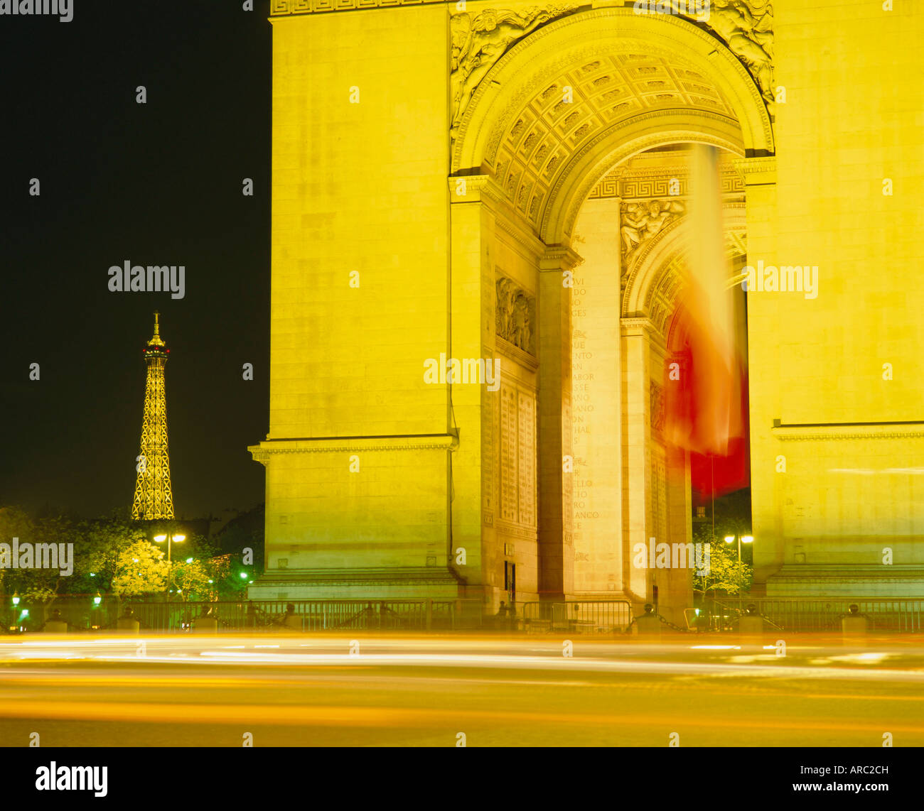 Arc de Triomphe and Eiffel Tower at night, Paris, France, Europe - Stock Image