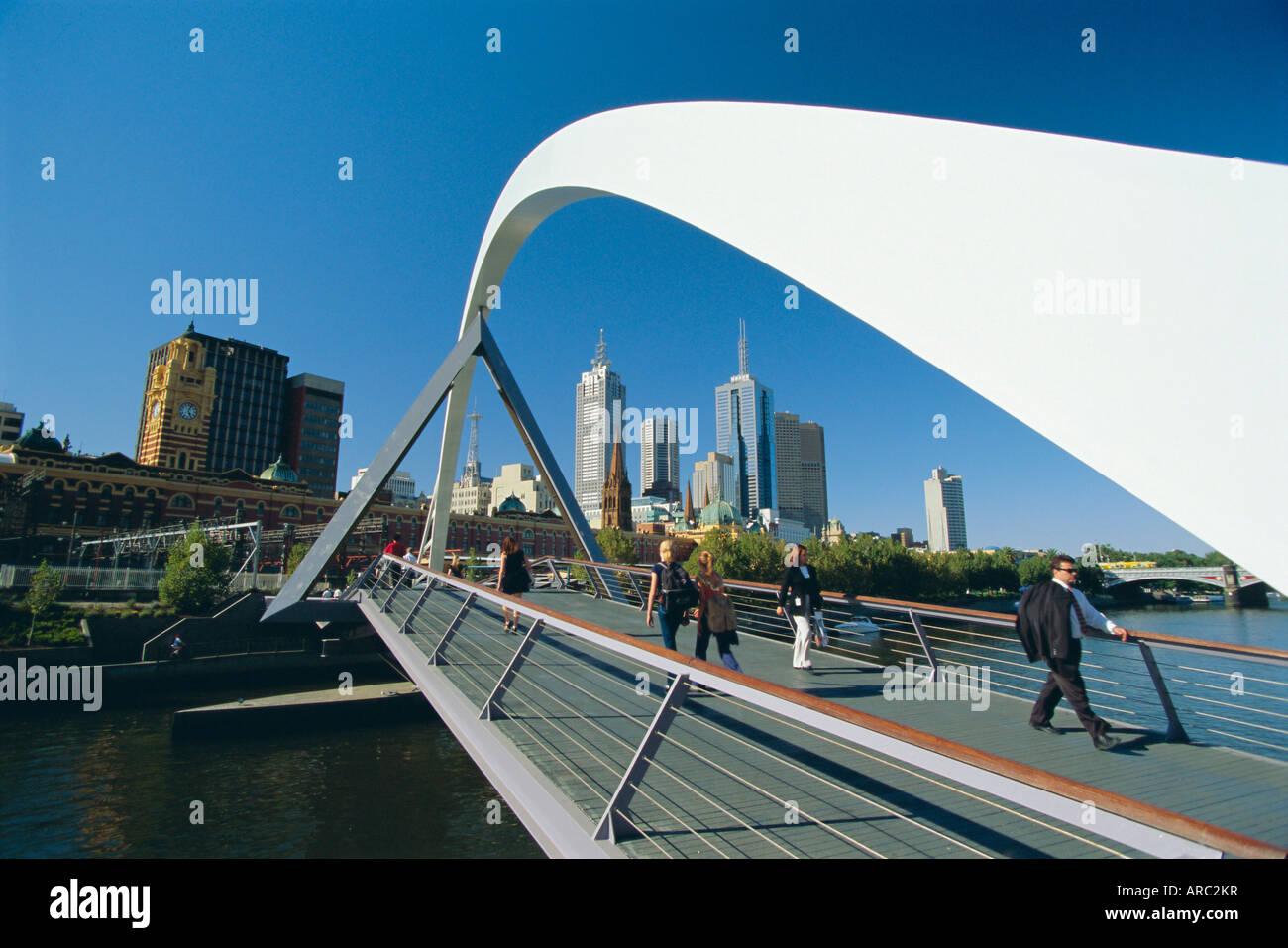 City skyline from Southgate, Melbourne, Victoria, Australia - Stock Image