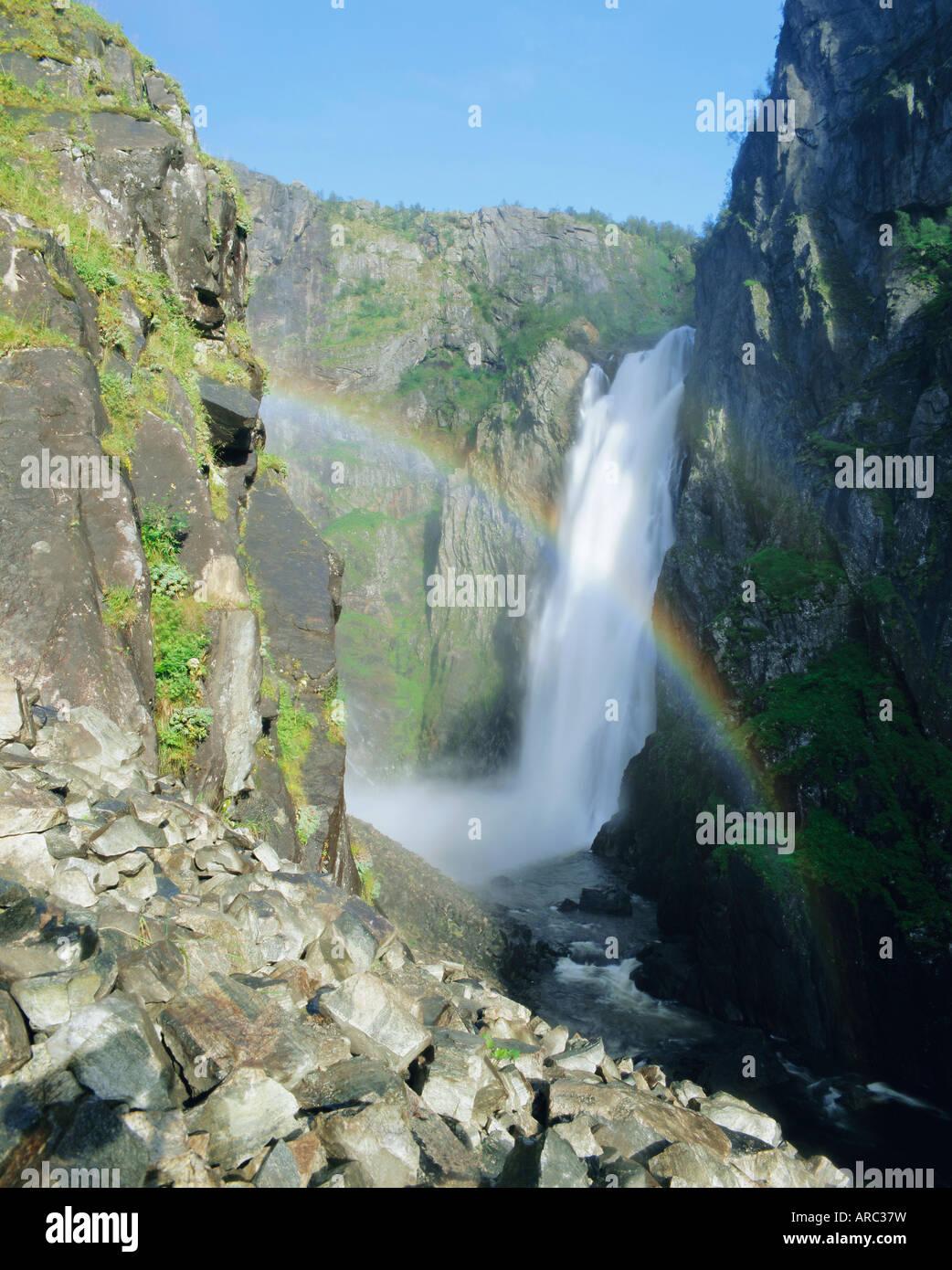 Rainbow and Voringsfossen waterfall, Hardanger region, Norway, Scandinavia, Europe - Stock Image