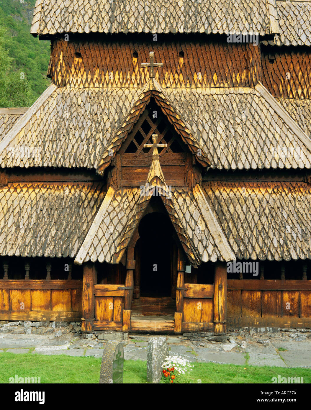 Best preserved 12th century stave church in Norway, Borgund, Western Fjords, Norway, Scandinavia, Europe - Stock Image