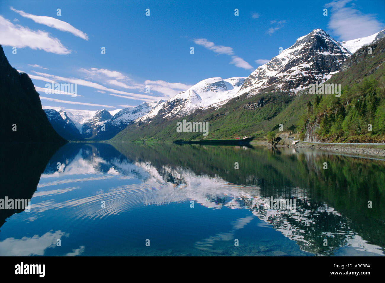 Tranquil scene near Olden, Oldevatnet Lake, Western Fjords, Norway, Scandinavia, Europe - Stock Image