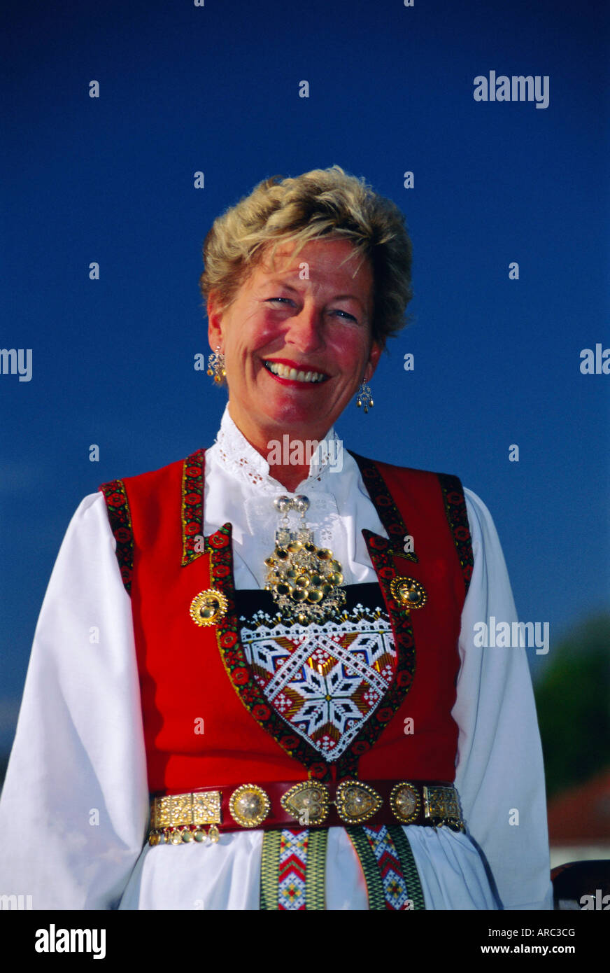 Portrait of a woman in national dress on Norwegian National Day (17th May), Oslo, Norway, Scandinavia, Europe Stock Photo