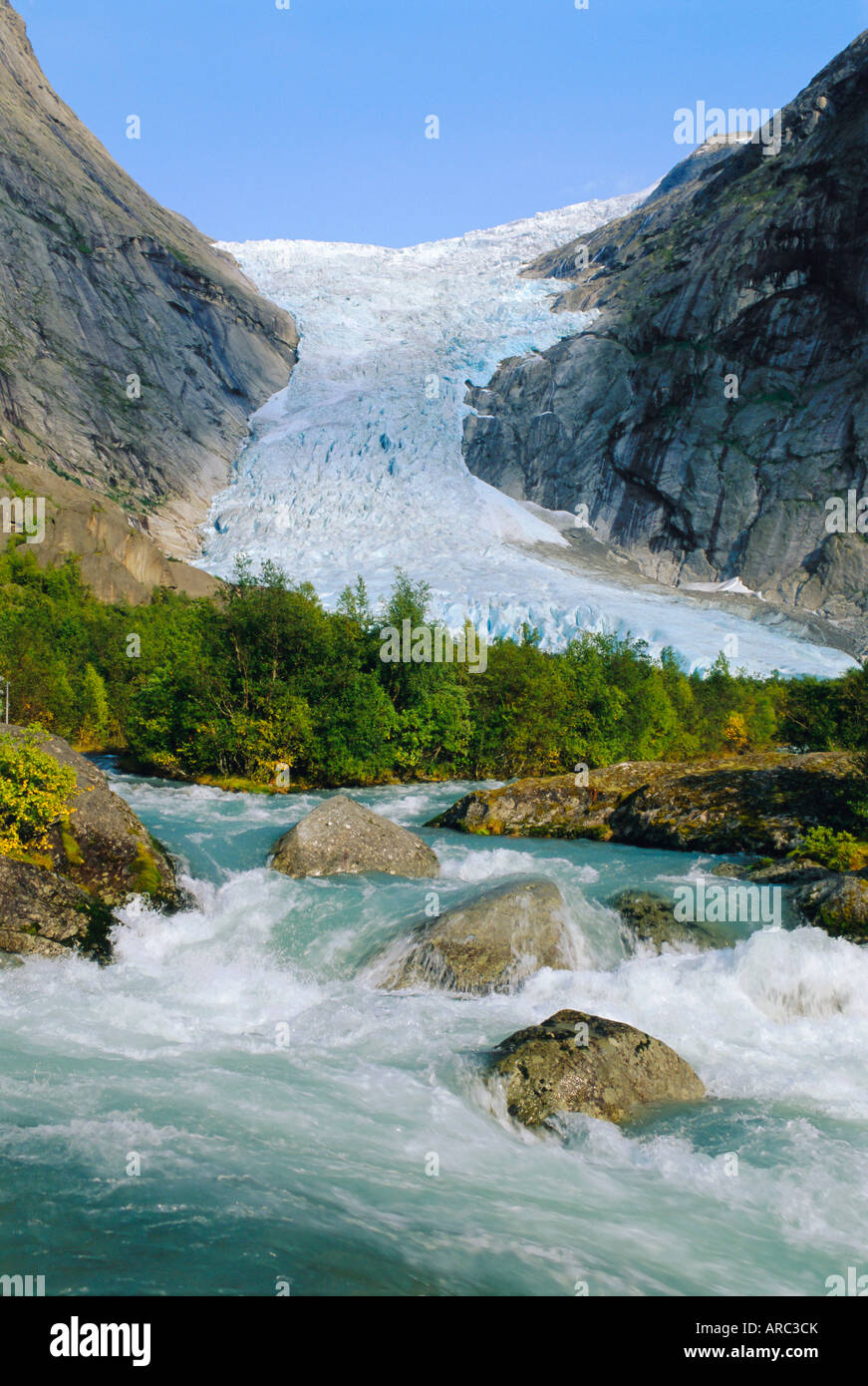 Briksdalbreen Glacier near Olden, Western Fjords, Norway - Stock Image
