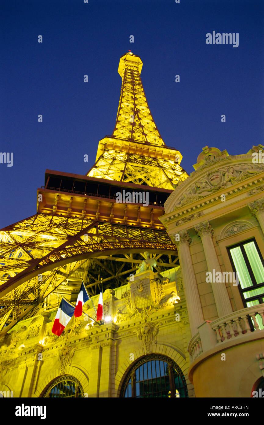 Mock Eiffel Tower, Paris Casino, Las Vegas, Nevada, USA, North America - Stock Image