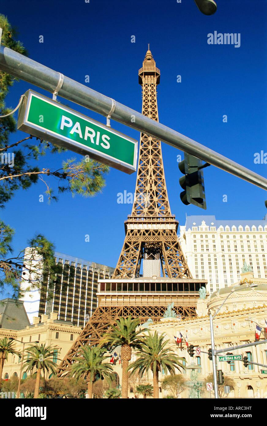 Mock Eiffel tower, Paris, Las Vegas, Nevada, USA, North America - Stock Image