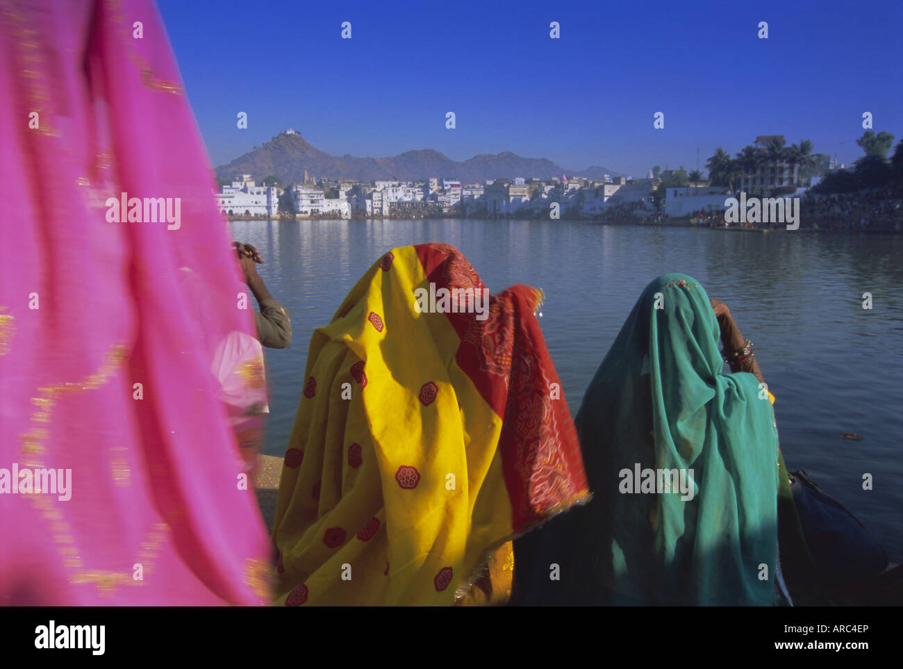 Women at the Hindu pilgrimage to holy Pushkar Lake, Pushkar, Rajasthan State, India, Asia - Stock Image