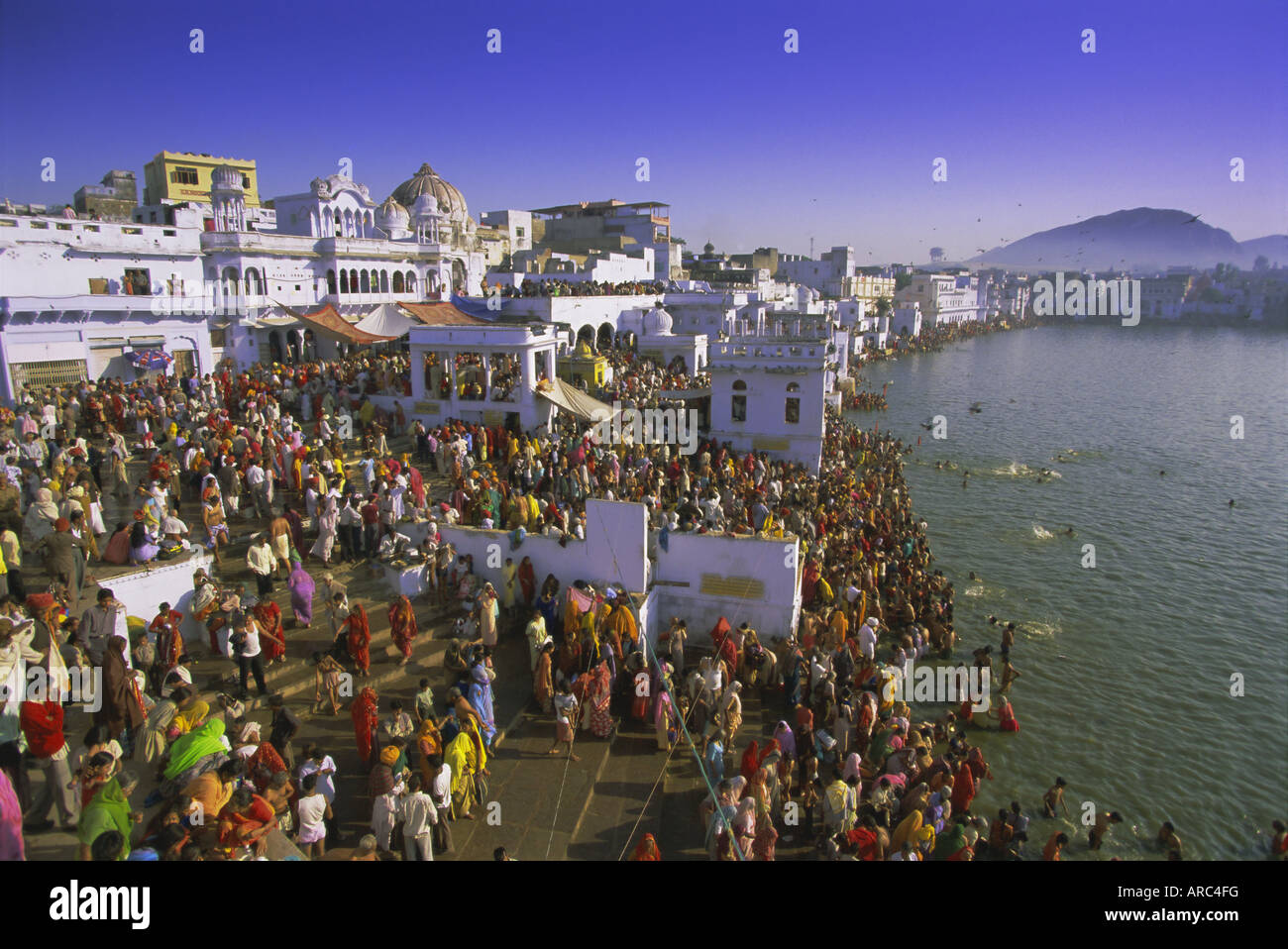 Pilgrims at the annual Hindu pilgrimage to holy Pushkar Lake, Pushkar, Rajasthan State, India, Asia - Stock Image