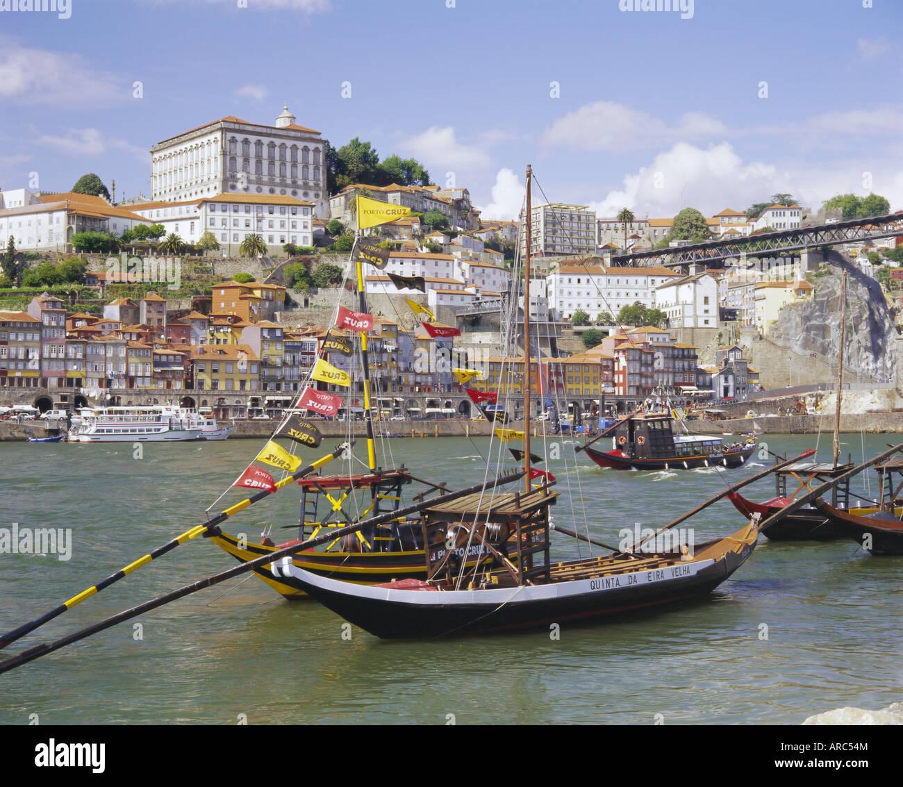 Douro River and Old Town, Porto (Oporto), Portugal, Europe - Stock Image