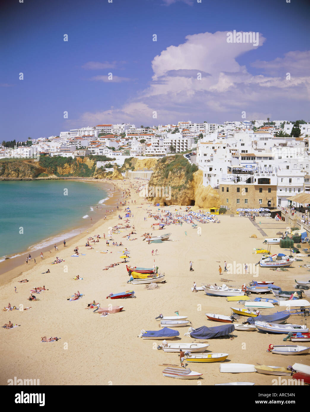 Beach and town, Albufeira, Algarve, Portugal, Europe - Stock Image