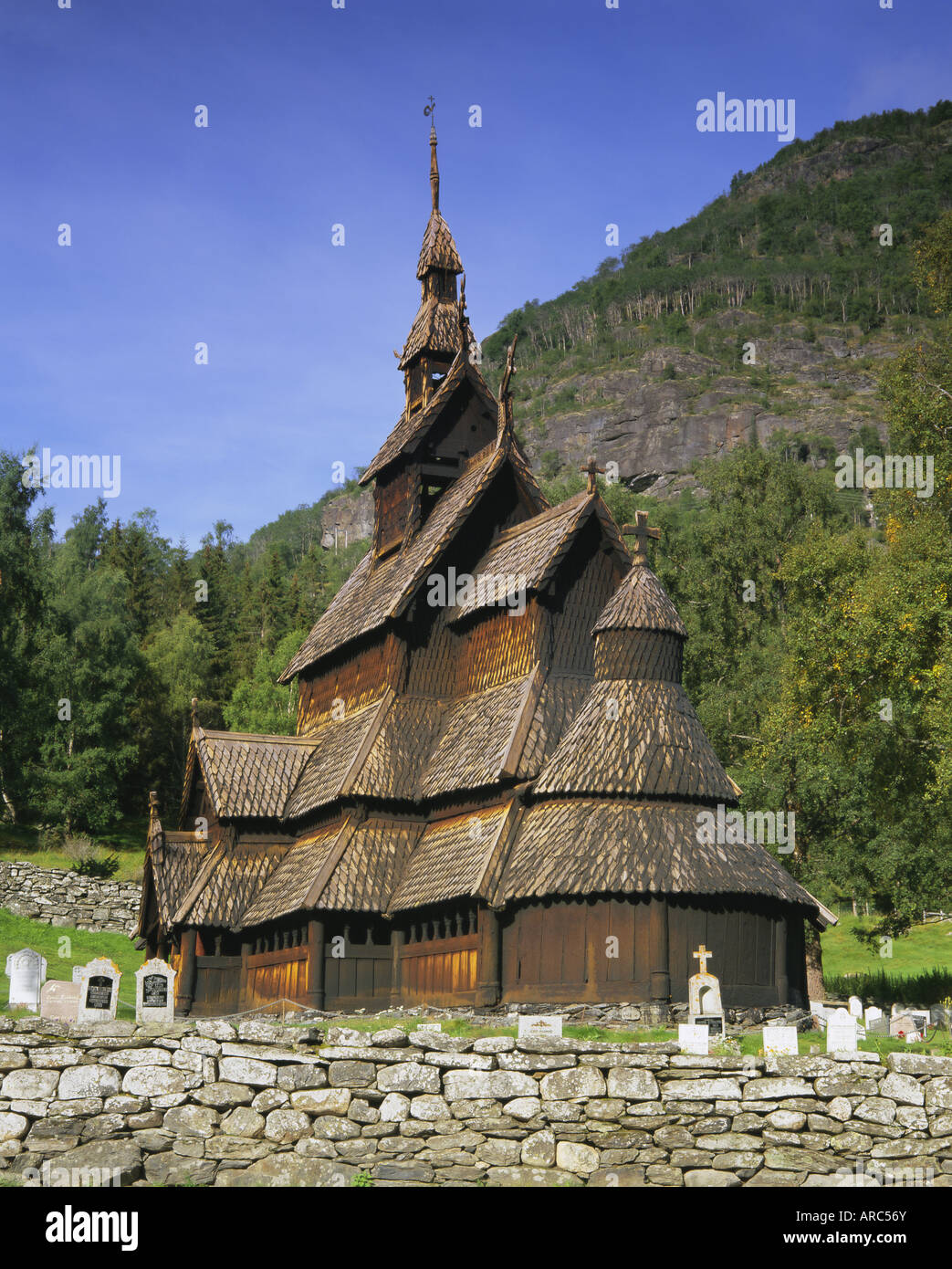 Borgund Stave Church, the best preserved 12th century stave church in the country, Borgund, Western Fjords, Norway, - Stock Image