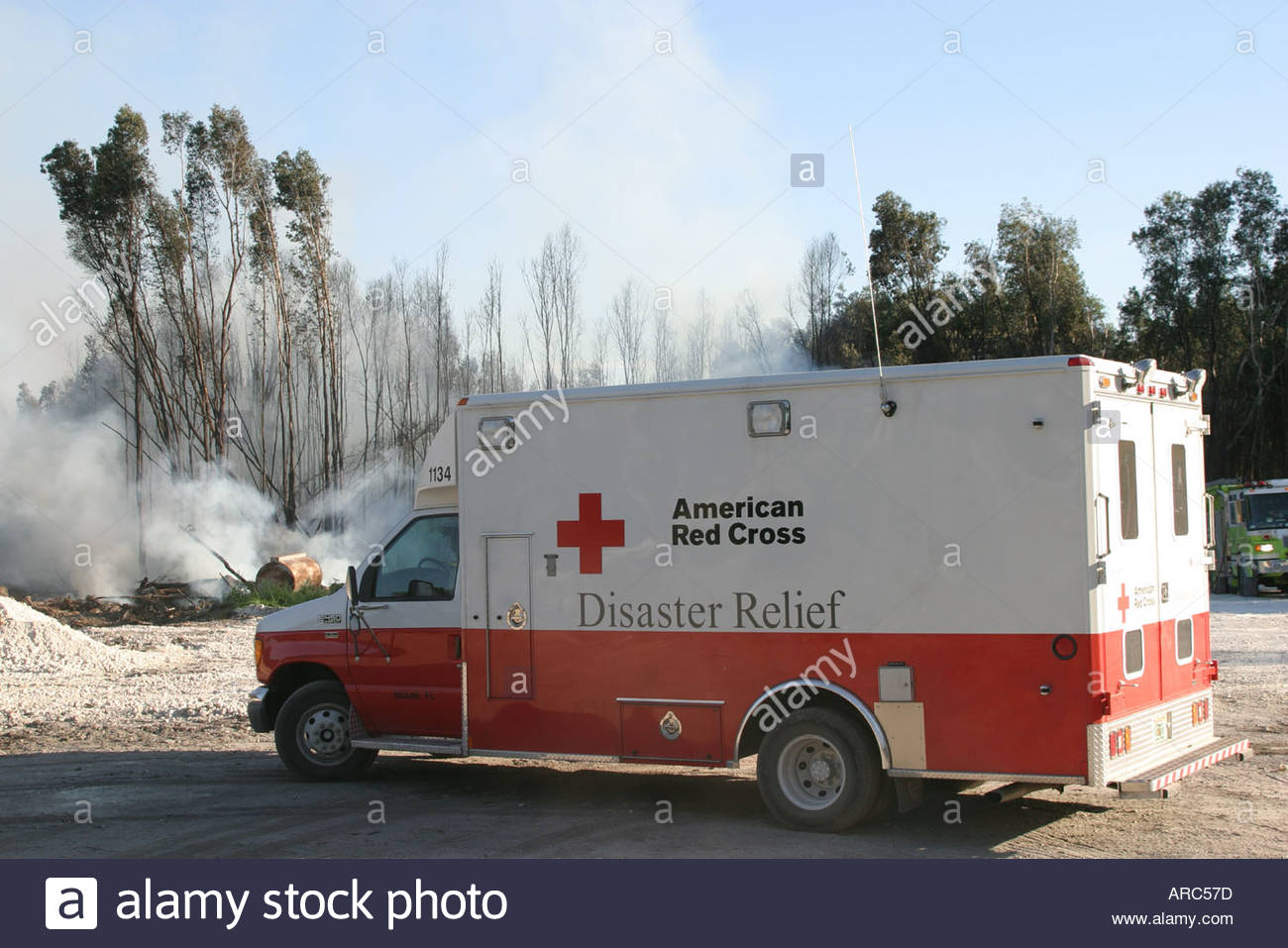Miami Florida Dade County Everglades dry season smoke trees American Red Cross Disaster Relief Vehicle - Stock Image