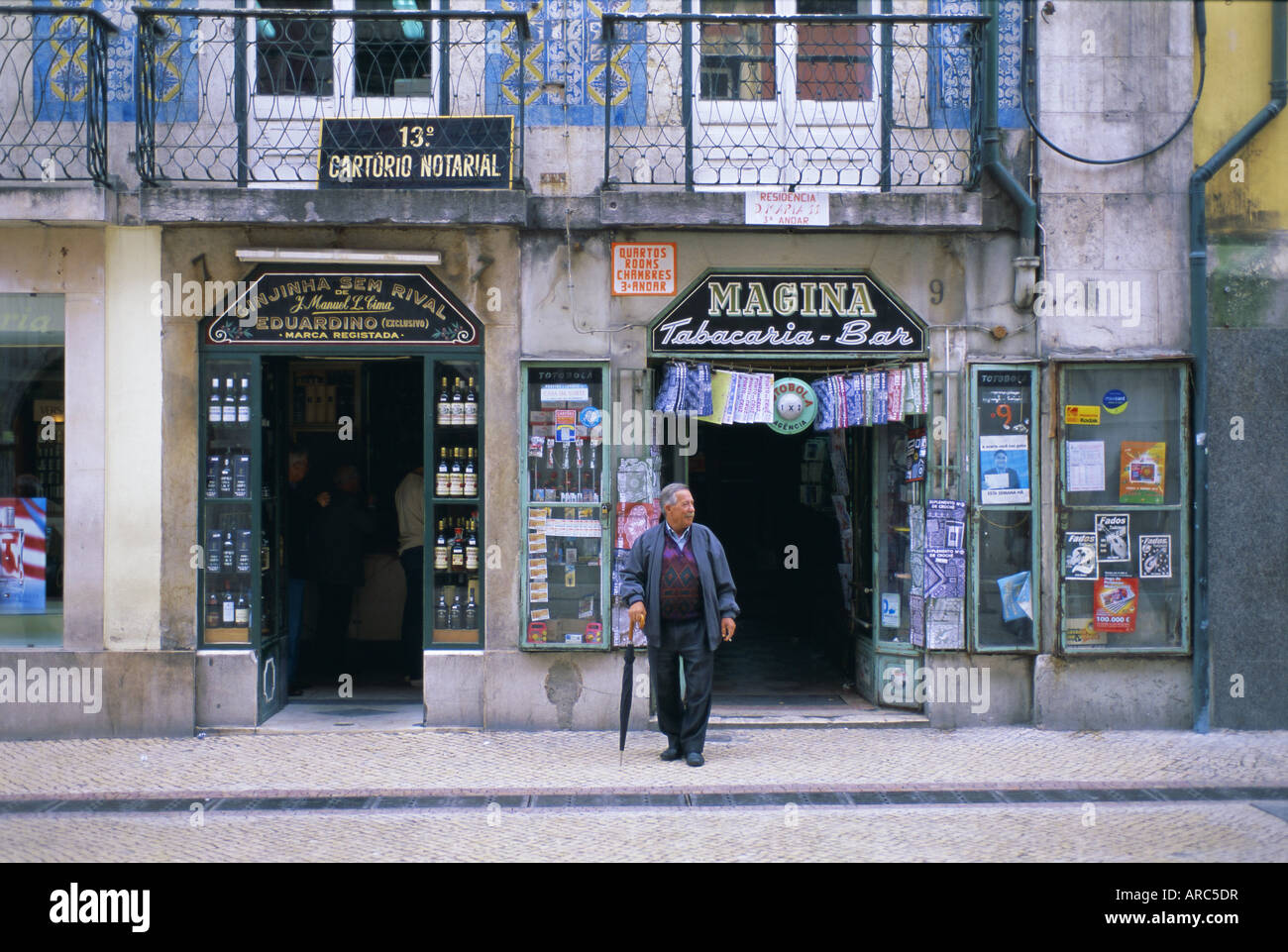 Typical shop fronts in the city centre, Lisbon, Portugal, Europe - Stock Image