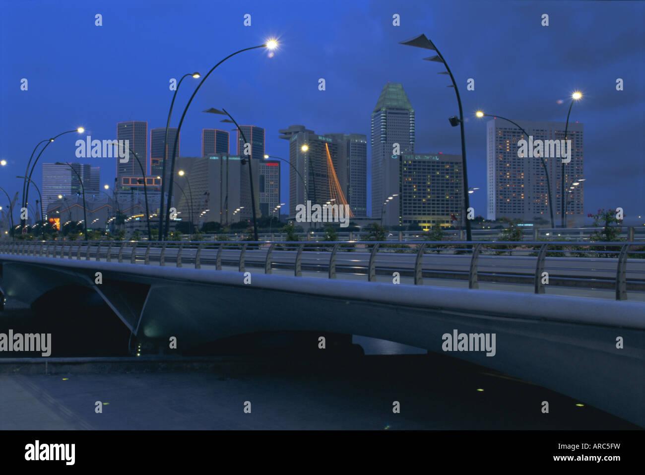 New Road Bridge (February 1998) across Marina Bay to new skyscraper area of Marina Square, Marina Bay, Singapore, Stock Photo