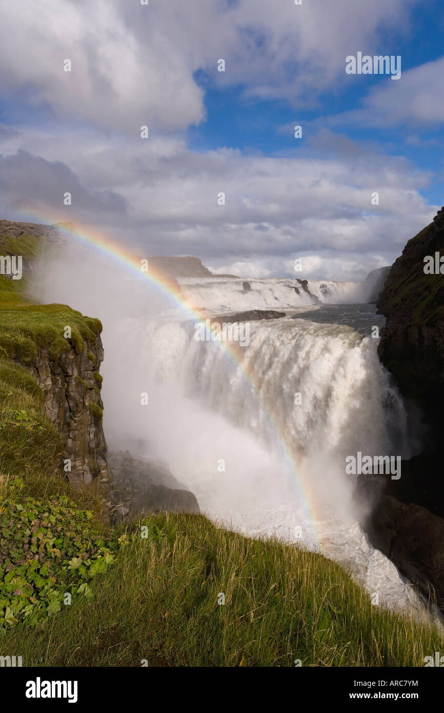 Iceland's most famous waterfall tumbles 32m into a steep sided canyon, Gullfoss, the Golden Circle, Iceland, - Stock Image