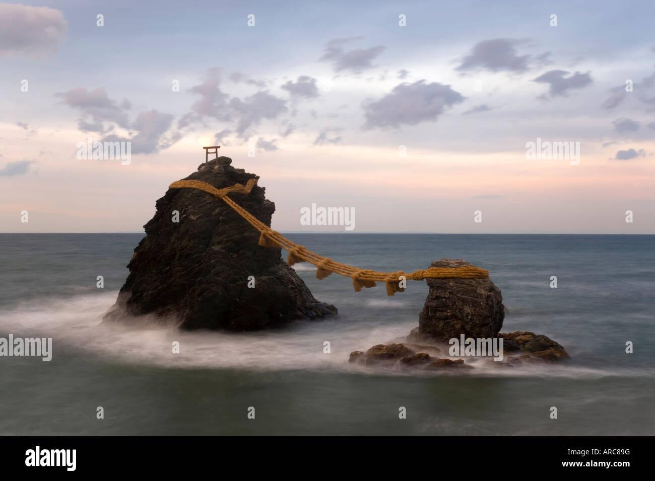 Meoto-Iwa (Wedded Rocks), Futami, Ise-Shima, Chubu, Central Honshu, Japan - Stock Image