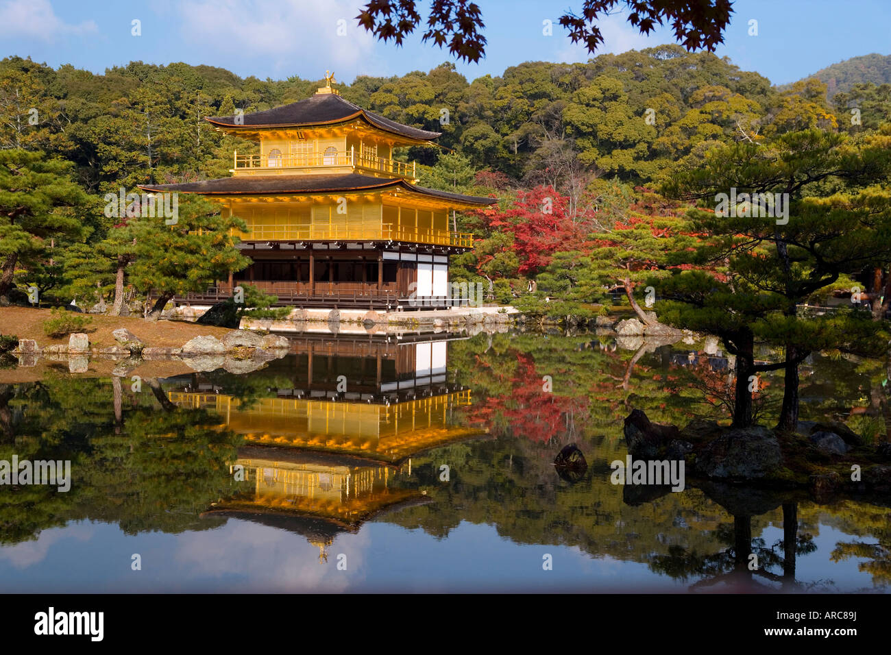 Kinkaku-ji (The Golden Pavilion), Kyoto, Kansai region, Honshu, Japan - Stock Image